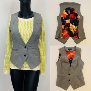 Ted Baker Tweed Suit Vest with Floral Back/Lining
